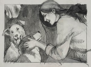Donna Howell-Sickles, You Are So Sweet, charcoal, 22 x 30.