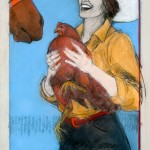 Donna Howell-Sickles, Lil Red Hen, mixed media, 22 x 30.