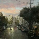 Hsin-Yao Tseng | North Beach in Rain, oil, 12 x 12.