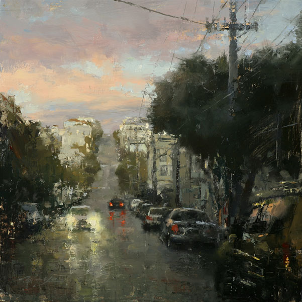Hsin-Yao Tseng | North Beach in Rain, oil, 12 x 12.