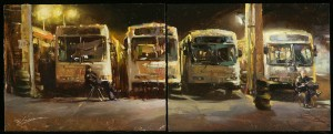 Hsin-Yao Tseng | Study of Night Guard (diptych), oil, 11 x 28.