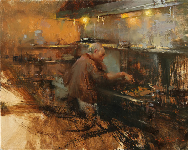 Hsin-Yao Tseng, Chinese Chef, oil, 16 x 20.