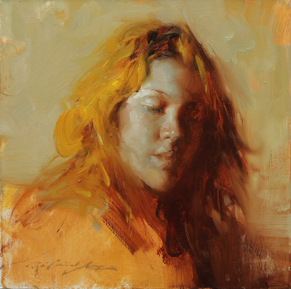 Hsin-Yao Tseng, Close Your Eyes, oil, 14 x 14.