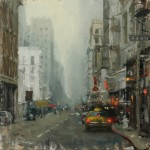 Hsin-Yao Tseng, Downtown Fog, oil, 16 x 16.