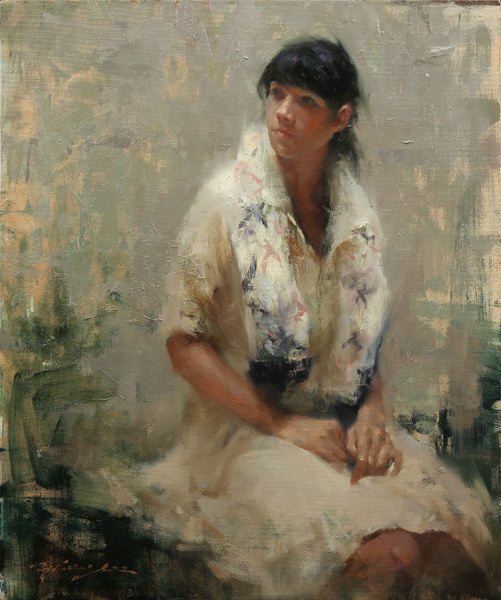 Hsin-Yao Tseng, Expecting, oil, 24 x 20.