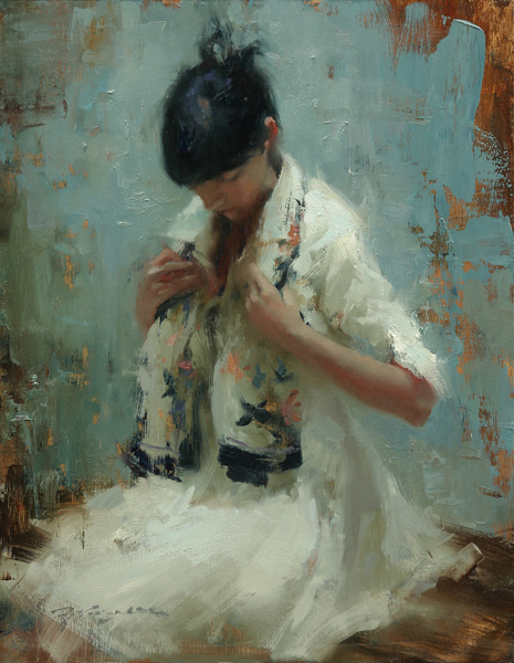Hsin-Yao Tseng, KP With Scarf, oil, 18 x 14.