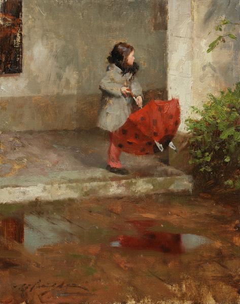 Hsin-Yao Tseng, Ladybug Umbrella, oil, 14 x 11.