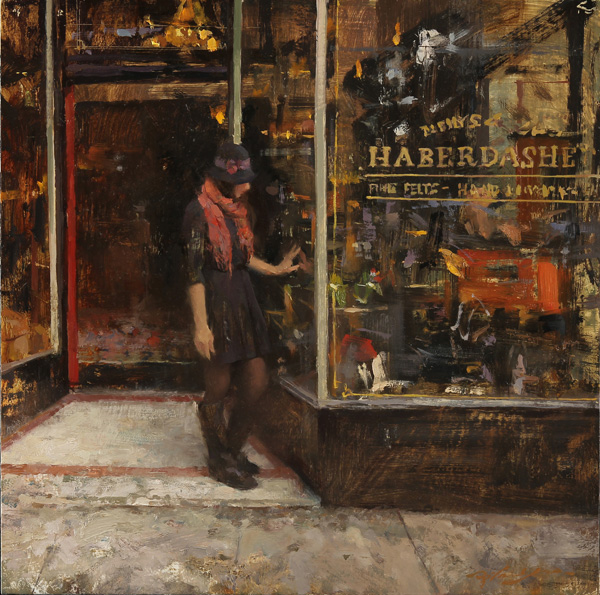 Hsin-Yao Tseng, Outside of the Hat Store, oil, 16 x 16.