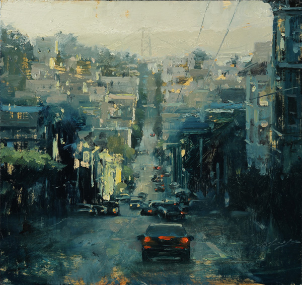 Hsin-Yao Tseng, Russian Hill in Green, oil, 14 x 15.