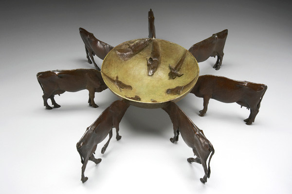 Anne Huibregtse, Cow Bowl, bronze, 18 x 14 x 8.