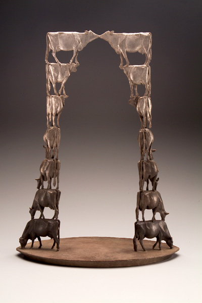 Anne Huibregtse, Segue, bronze, 18 x 14 x 8.