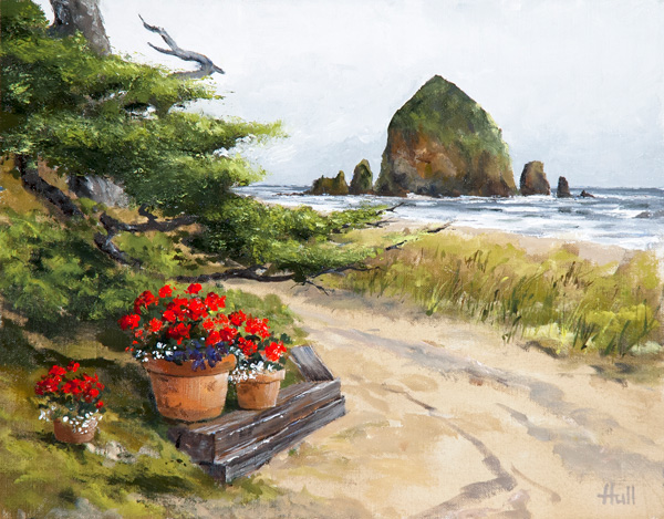 Jeffrey Hull, Geraniums Before the Rock, oil, 11 x 14.