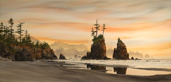 Seastacks at Sunset, watercolor, 26 x 53.