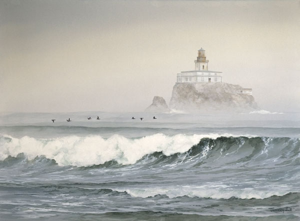 Tillamook Rock Lighthouse, watercolor, 26 x 35.