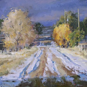 Julee Hutchison, Country Road, oil, 16 x 16.
