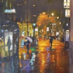 Julee Hutchison, Rain in the City, oil, 20 x 20.