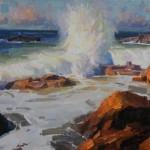 Calvin Liang, Incoming Tide, Laguna Beach, oil, 9 x 12.