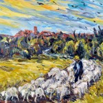 JIll Steenhuis, 2777 Shepherd & His Flock at Sunset in Eguilles, 18 x 22.
