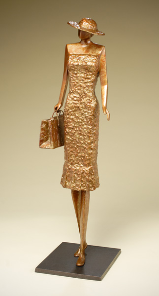 Jeannine Young, The Shopper, bronze, 22 x 7 x 6.