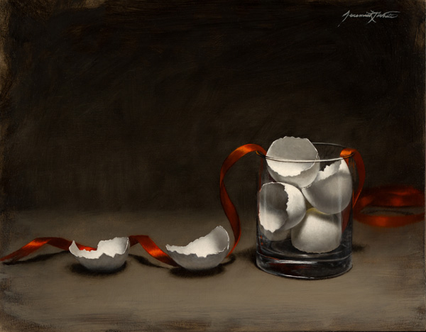 Jeremiah J. White, Eggshells and Ribbon, oil, 11 x 14.