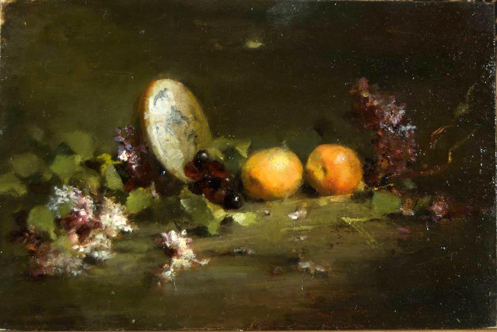 Jacqueline Kamin, Lilacs and Pluots, oil, 9 x 12.