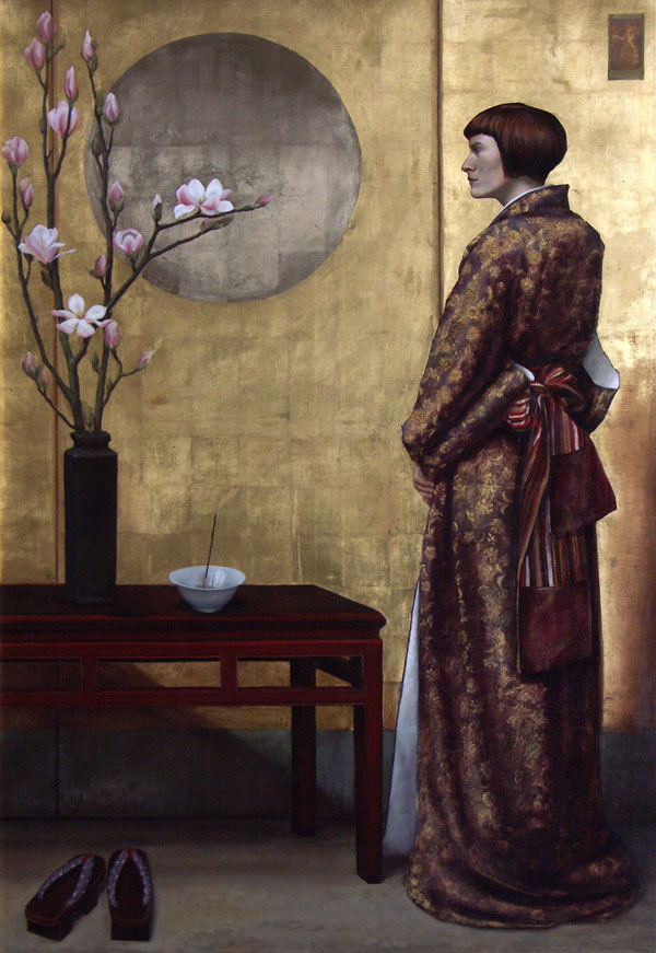 Clarissa James, Spring Offering, oil/gold leaf, 60 x 44.