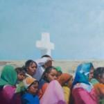 Jane Ford, Culture at a Crossroads, oil, 24 x 36.