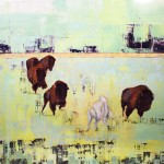 Janice Sugg, The Stampede, White Buffalo, oil, 48 x 48.