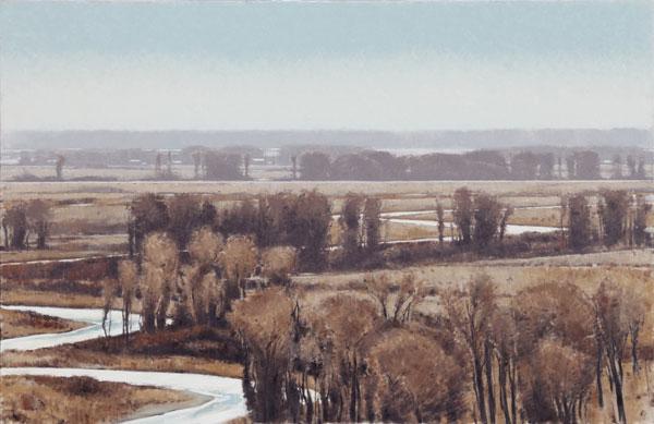 Cottonwood Bend, oil, 54 x 83.