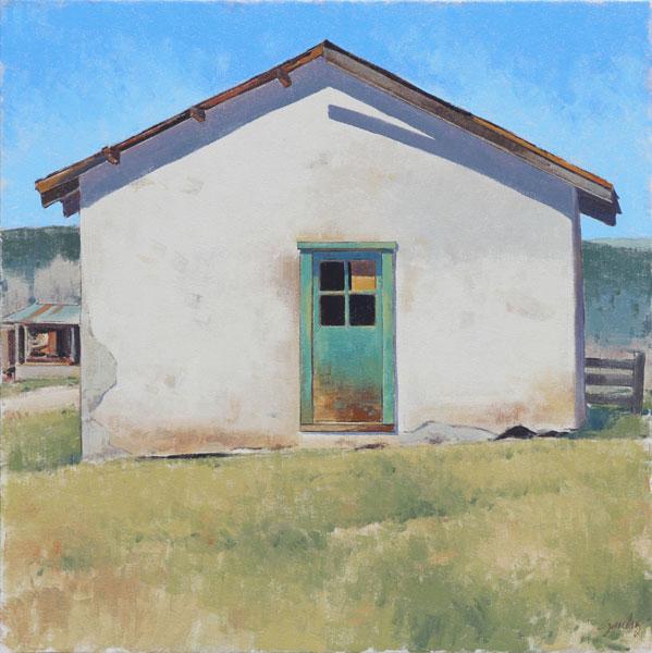 Turquoise Door, oil, 30 x 30.