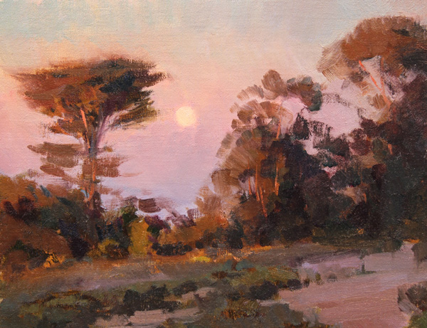 Jesse Powell, Monterey Moonrise, oil, 11 x 14.
