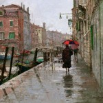 X. Song Jiang, Rain Day, oil, 16 x 20.