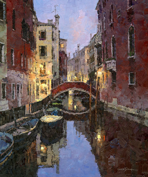 X. Song Jiang, Venice Night, oil, 15 x 12.