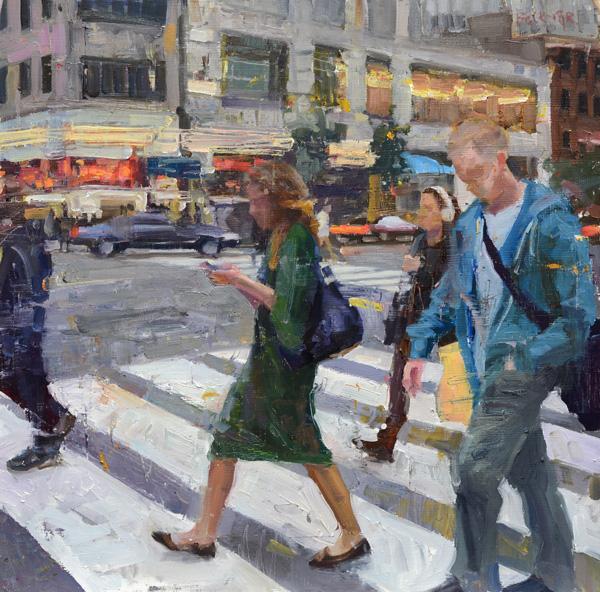 Jim Beckner, Connected, oil, 16 x 16.