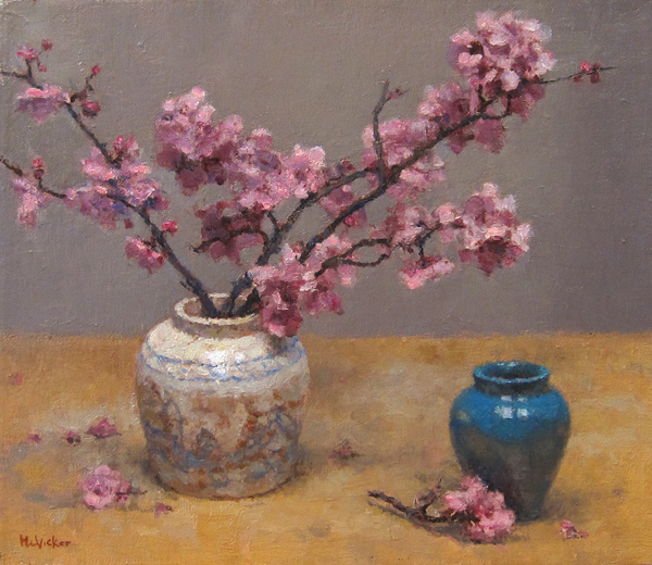 Jim McVicker, Plum Blossoms, oil, 10 x 12.