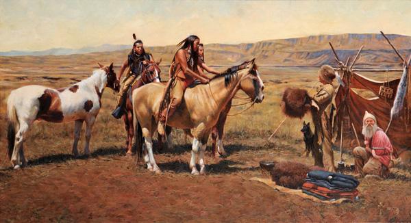 John Fawcett, Green River Traders, oil, 22 x 40.