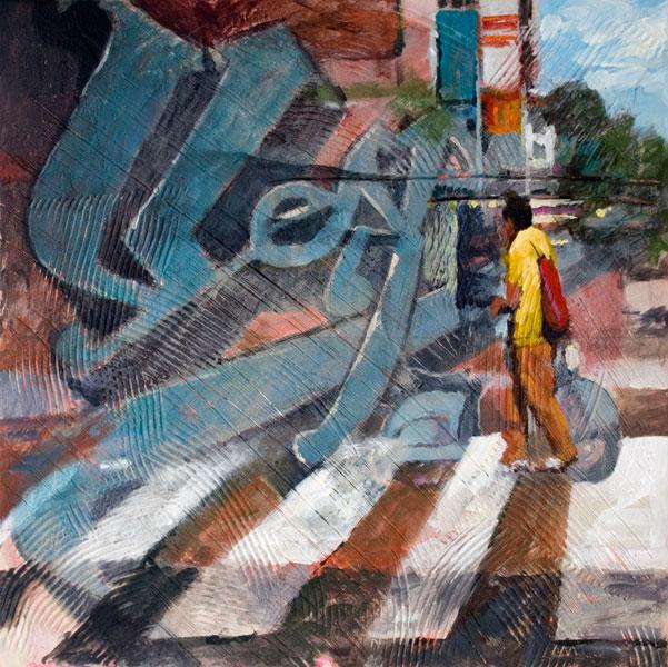 John Harrell, Vespa, acrylic, 18 x 18.