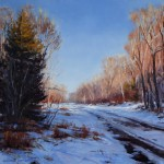 Jennifer Johnson, Winter Road, oil, 20 x 20.