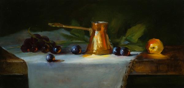 Barbara Jones, Copper and Apple, oil, 6 x 12.