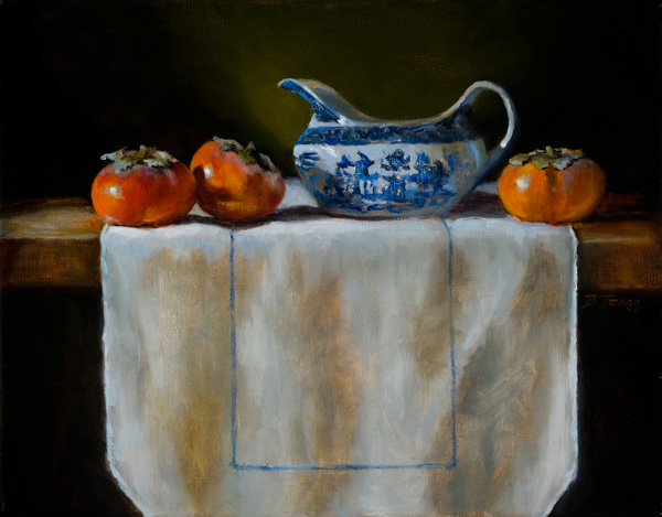 Barbara Jones, Persimmons, oil, 11 x 14.