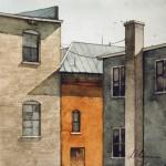 Joseph Alleman, Building Backs, watercolor, 7 x 7.