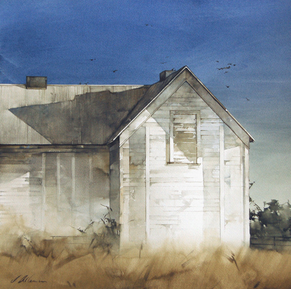 Joseph Alleman, Sun Washed, watercolor, 20 x 20.