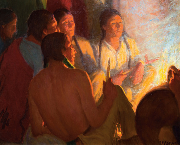 Joseph H. Sharp, Indian Council, oil, 16 x 20. Estimate: $150,000-$250,000.
