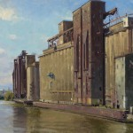 Joseph Paquet, Lake & Rail Elevator, oil, 24 x 30.