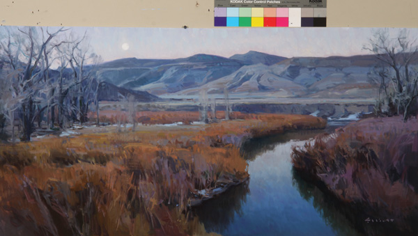 Josh Elliott, November Pearl, Judith Basin, oil, 15 x 30.