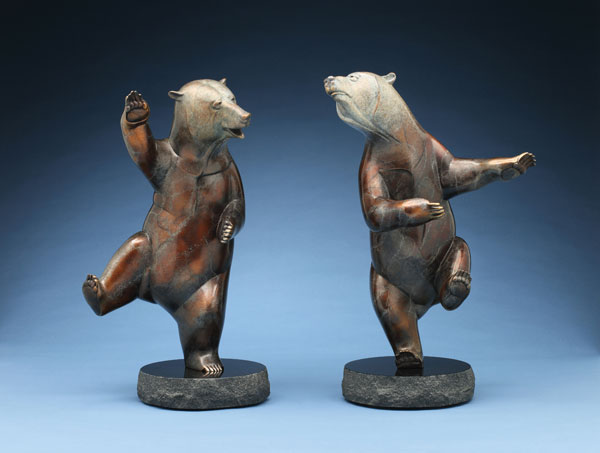 Joshua Tobey, Bellydancer, bronze, 19 x 10 x 8 (left) and Moonlighter, bronze, 19 x 13 x 8 (right).