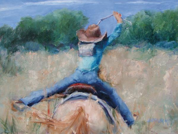 Judith Brunko, Time to Run, oil, 18 x 24.