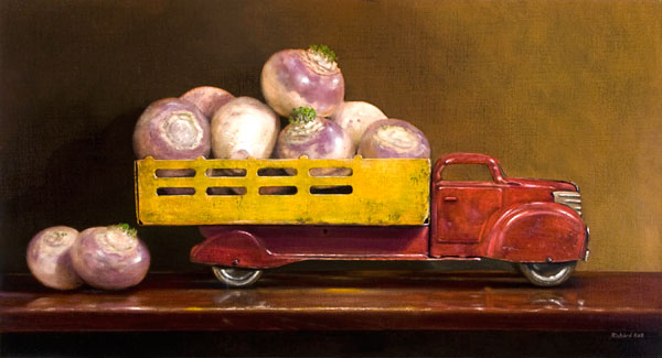 Just Fell off the Turnip Truck, oil, 12 x 24.