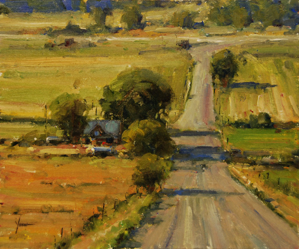 Dan Young, Just up the Road, oil, 14 x 18.