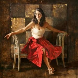Jennifer Welty, Kate Smith, oil, 44 x 44.